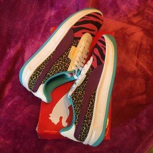 SOLD- PUMA Cali Animal Sneakers in Purple, Leopard